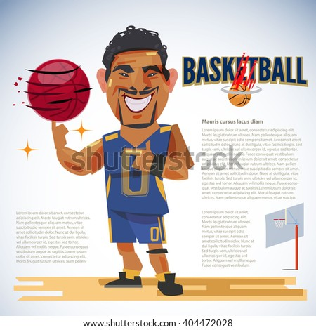 Basketball player spinning basketball on index finger with typographic design. character design - vector illustration - stock vector