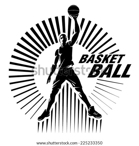 Basketball player. Vector illustration in the engraving style - stock vector