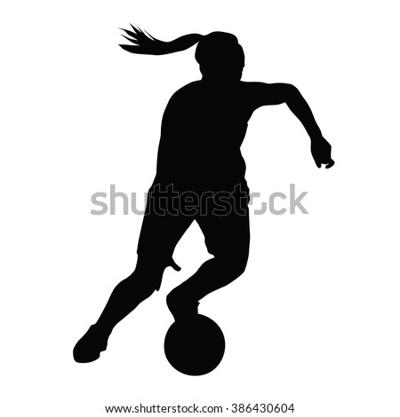 Basketball player vector silhouette, woman, girl, running with ball - stock vector