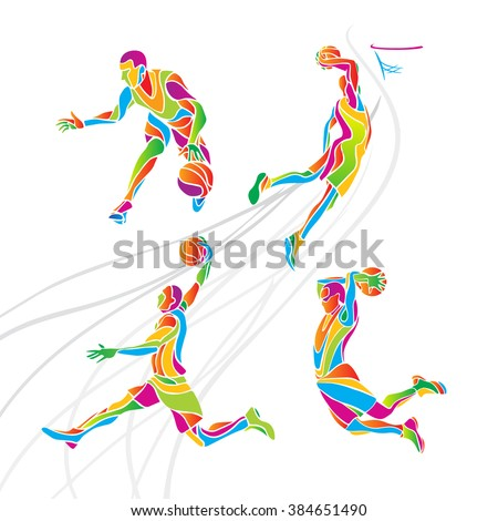 Basketball players collection vector - stock vector