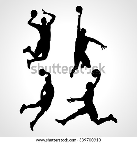 Basketball players collection vector. 4 silhouettes of basketball players - stock vector