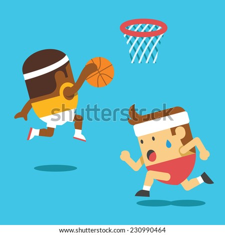 Basketball players. Creative funny vector flat illustration. Cute mascot concept. Trendy style graphic design elements. - stock vector