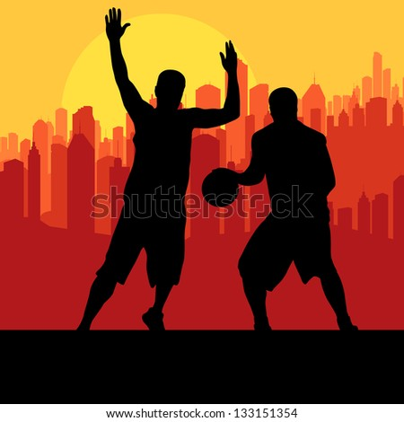 Basketball players in front of city sunset vector background concept - stock vector