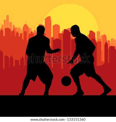 Basketball players in front of city sunset vector background concept