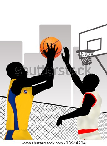 Basketball players silhouettes on city, vector illustration - stock vector