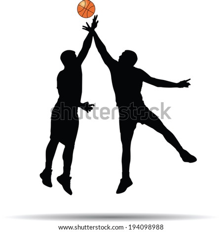 basketball players start  jump  silhouette vector - stock vector