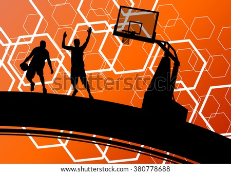 Basketball players young active men healthy sport silhouettes vector background illustration - stock vector