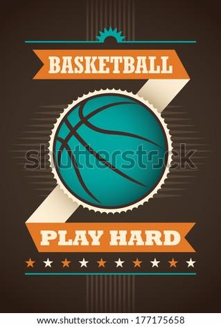 Basketball poster design. Vector illustration. - stock vector