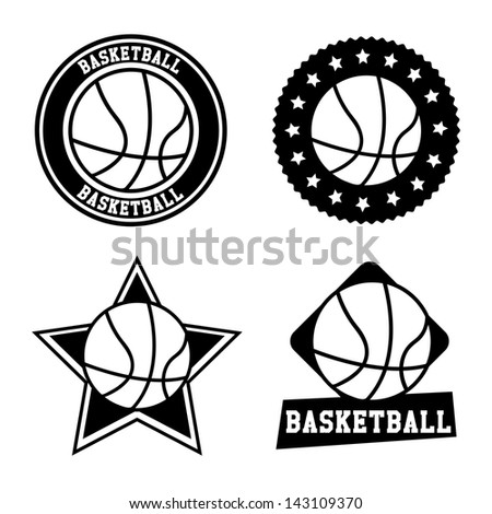 basketball  seals over white background vector illustration - stock vector