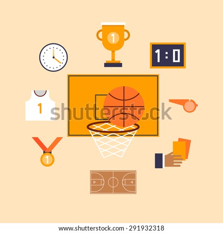 Basketball set icons. Flat design. - stock vector