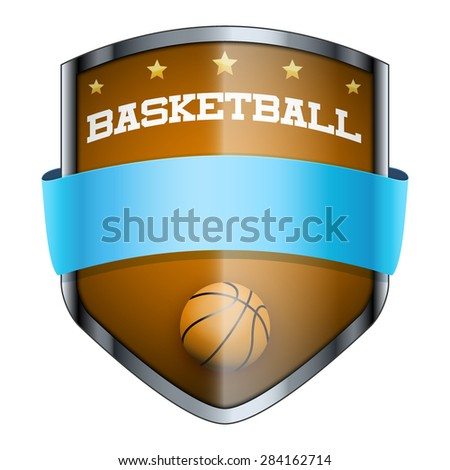 Basketball Shield badge. The symbol of the sports club or team. Vector Illustration isolated on white background. - stock vector