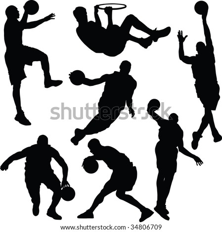Basketball, silhouette, vector - stock vector