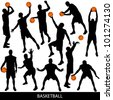 Basketball silhouettes - stock