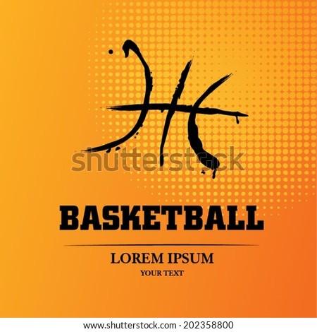 Basketball sketch - stock vector