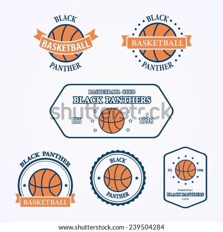 basketball sport team emblems symbols basket stock vector