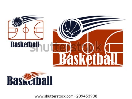 Basketball symbol with empty field, ball and text colored in black and red  for sports, sporting logo and leisure design - stock vector