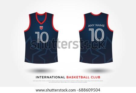 Basketball tshirt design uniform set kit stock vector for Navy blue t shirt template