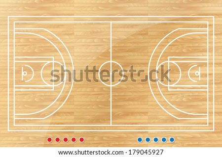 Basketball tactic table with marks. Vector illustration