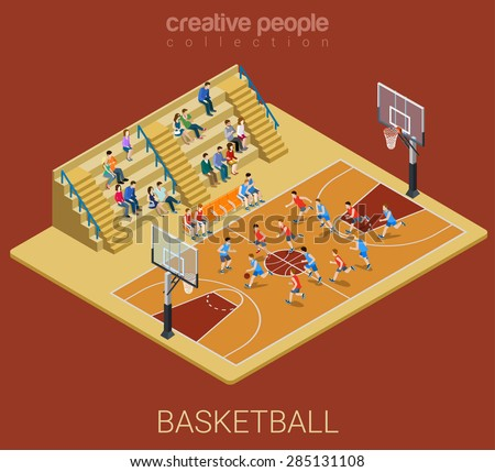 Basketball team competition match play. Sport modern lifestyle flat 3d web isometric infographic vector. Young joyful people team sports championship. Creative sportsmen people collection. - stock vector