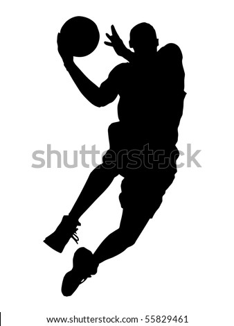 basketball the player in a jump with a ball graphics the silhouette