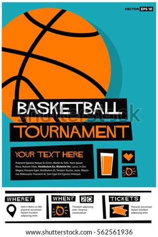 Basketball Tournament Flat Style Vector Illustration Stock Vector