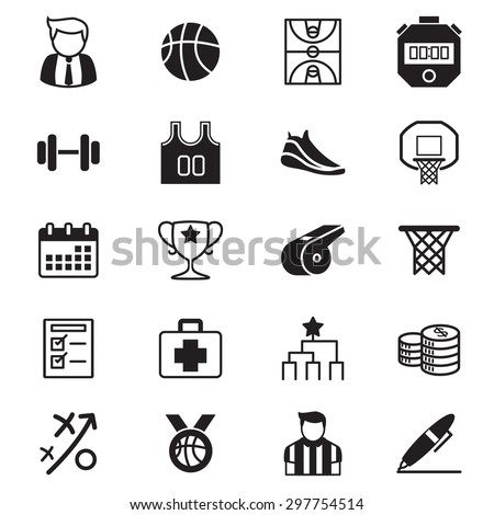 Basketball tournament icons set - stock vector