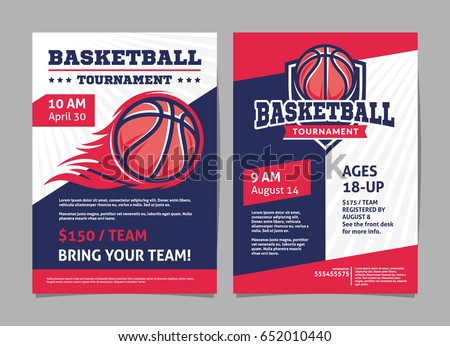 Basketball Tournament Posters Flyer Basketball Ball Stock Vector