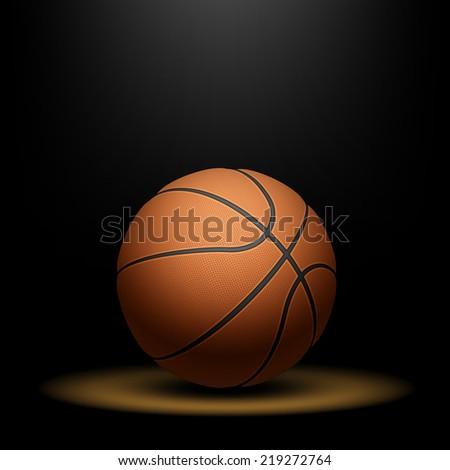 Basketball under spotlight. Vector illustration. - stock vector