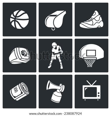 Basketball Vector Icons Set - stock vector