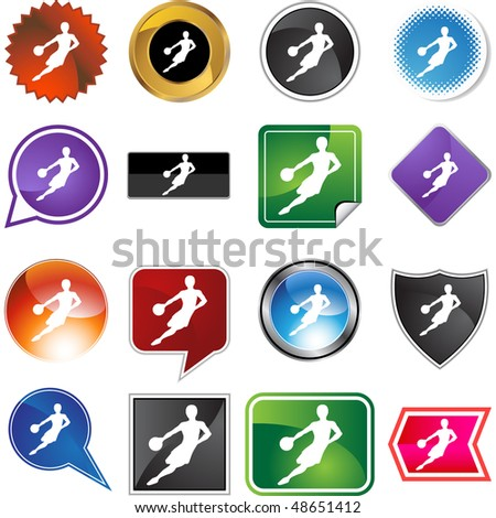Basketball web button isolated on a background