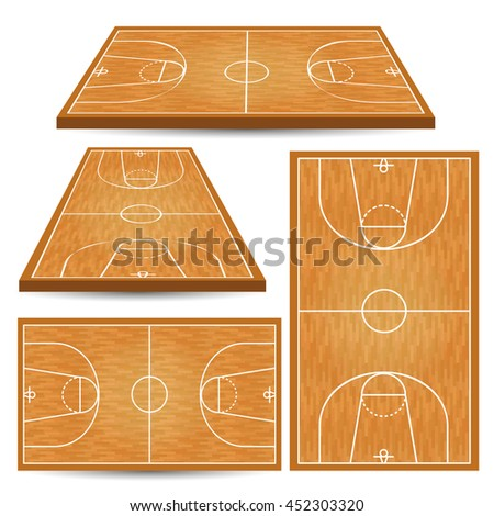 Basketball wooden court background. Isometric  parquet field. Vector illustration