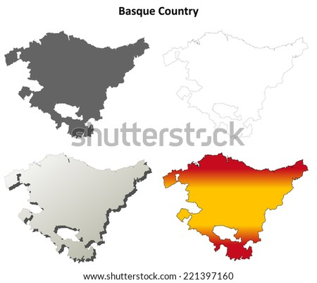 Basque Country blank detailed outline map set - stock vector