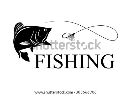 Bass and hook with text FISHING, fly fishing - stock vector