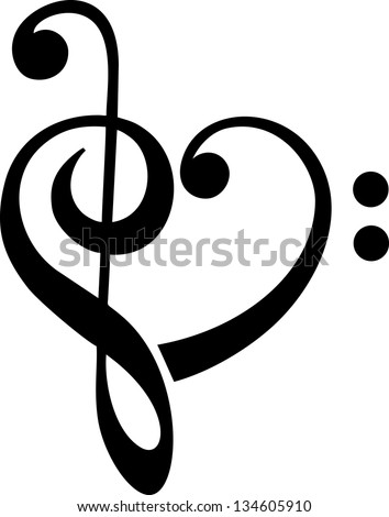 Bass and treble clef, heart, music, classic - vector - stock vector