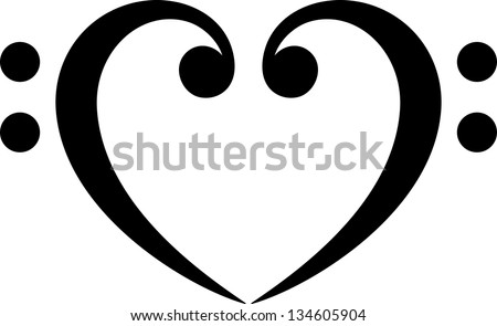 Bass clef, heart, music, classic - vector - stock vector