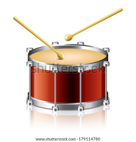Bass drum vector isolated on white photo-realistic vector illustration - stock vector