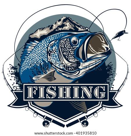 Bass fish. Perch fishing vector illustration. Bass fishing vector illustration can be used for original design. - stock vector