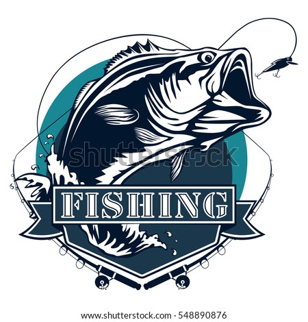 bass fishing logos  Bass Fishing Logo Isolated On White Stock Vector (Royalty Free ...