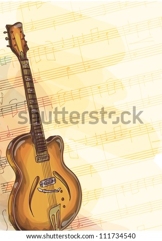 Bass Guitar on music background with handmade notes. Watercolor style. Vector illustration. - stock vector