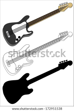 Bass guitar, silhouette and outline