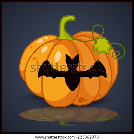 bat, banner and background for pumpkins for Halloween