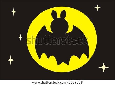 Bat in front of the moon - stock vector
