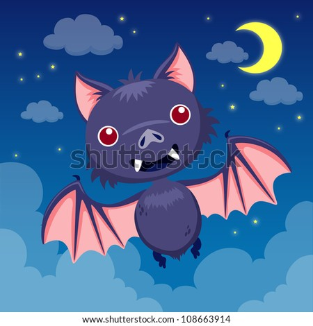 Bat on night sky - stock vector