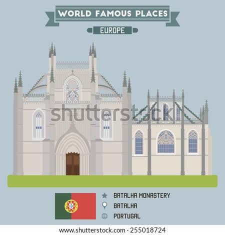 Batalha monastery. Portugal famous places - stock vector