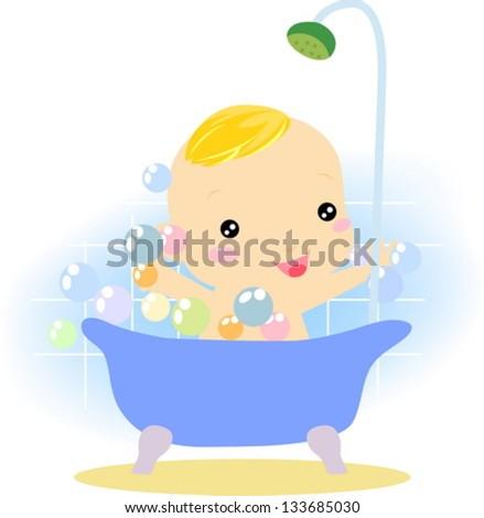 Bath boy - stock vector