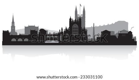 Bath city skyline silhouette vector illustration - stock vector