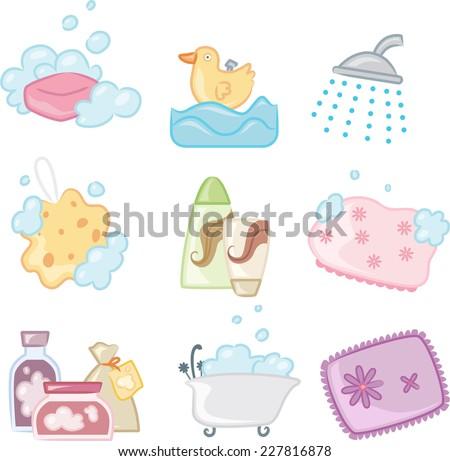 Bath Shower icons, with Soap, Bubble, Duck, Sponge, Bath Brush, Shampoo, Conditioner, Bathing Cap, Bath tub, Salt, Bath. Vector illustration Cartoon. - stock vector