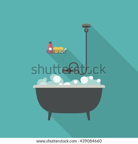 Bath vector illustration with long shadow. Flat banner of bathtub. - stock vector
