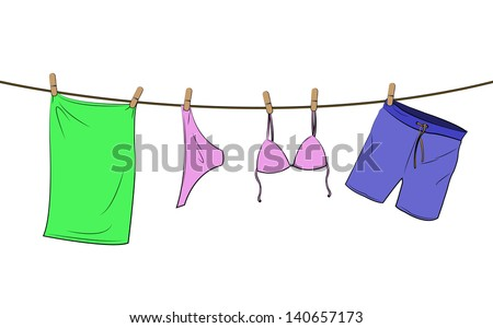 bathing things on a line
