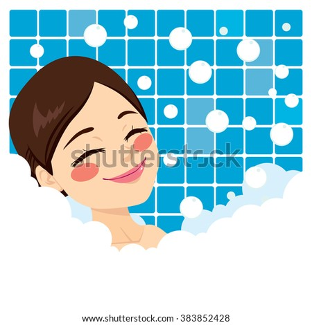 Bathing woman relaxing in bubble bath smiling with eyes closed - stock vector